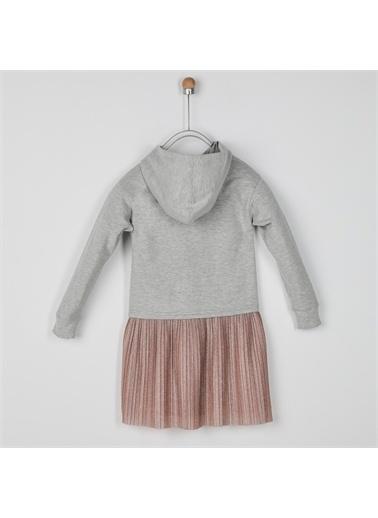 Panço Kız Çocuk Örme Elbise 2021GK26023 Gri